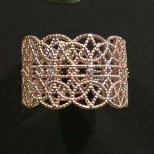 INC Crystal Adjustable Filigree Ring